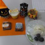 かぼちゃプリン、ハロウiン和菓子、果物